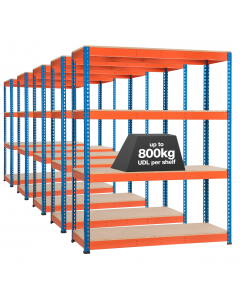 5 x STORALEX SX800 BAY - 1980MM HIGH - (3 WIDTHS) - 610D - UP TO 800KG UDL - ORANGE & BLUE